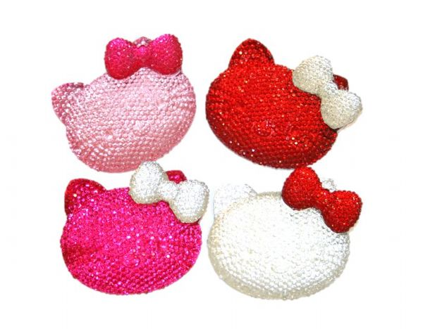 Diamond acrylic flat back -- bonjour kitty head with bow - 54mm x 44mm x 10mm